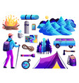 hiking camping colorful set vector image