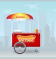 hot dog cart street fast food market on big city vector image vector image