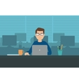 Man with laptop in office room vector image vector image