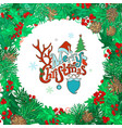 merry christmas round frame vector image vector image