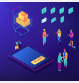 mobile shopping and online order isometric set vector image