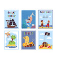 pirates kids cards birthday invitation template vector image vector image