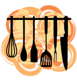 Rack of kitchen utensils vector image vector image