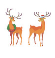 reindeer christmas icon moving deer vector image vector image