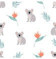 seamless pattern with koalas and leaves vector image vector image