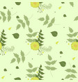 seamless summer pattern green with yellow flowers vector image