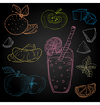 Set hand-drawn food ingredients on chalkboard vector image vector image