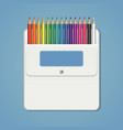 set of rainbow colored pencils in a white pocket vector image vector image