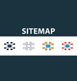 sitemap icon set four elements in different styles