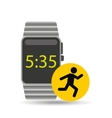 smart watch technology with character man run vector image vector image