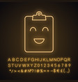 smiling clipboard neon light icon vector image