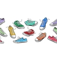 Sneakers shoes horizontal seamless pattern vector image