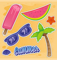 summer set sticker vector image vector image