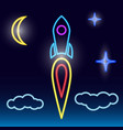 takeoff of a rocket neon vector image
