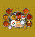 traditional goan cuisine and food meal thali of vector image vector image