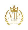 vip club logo design luxury elegant golden badge vector image vector image