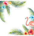 Watercolor card tropical leaves and the