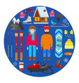 winter equipment on blue background vector image vector image