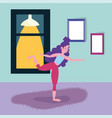 young woman practicing yoga activity sport vector image