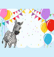 zebra on party template vector image vector image