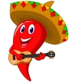 Chili pepper mariachi cartoon wearing sombrero pla