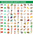 100 discover earth icons set cartoon style vector image vector image