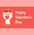 angel holding heart happy valentine day vector image vector image