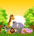 animal wildlife cartoon with forest background vector image vector image