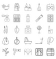 beauty shop icons set outline style vector image vector image