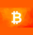 bitcoin sign on low poly orange background vector image
