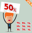 Business man show Sale percent sticker tag - vector image