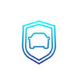 car and shield linear icon vector image vector image