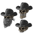 cartoon bandit skulls with hat and scarf vector image vector image
