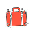 cartoon suitcase icon in comic style case for vector image vector image