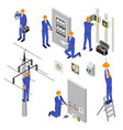 character electrician in uniform 3d icon set vector image
