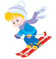 Child skiing vector image