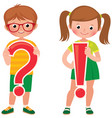 children students are holding a question and vector image