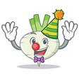 clown turnip mascot cartoon style vector image vector image