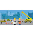 Construction Site Worker with Engineer Background vector image vector image