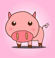 cute cartoon pig on pink background vector image