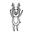 cute deer with hands up cartoon character on white vector image