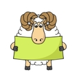 Cute hand sheep with blank banner vector image vector image