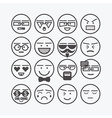 cute line black circle emoticons set vector image vector image