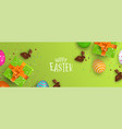 easter banner of chocolate bunny and color eggs vector image