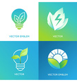 Eco energy concept - light bulb icons with green vector image vector image