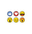 emoji emoticon in flat style set icons social vector image vector image