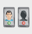 facial recognition system on gadget vector image vector image
