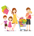 Family Shopping and Gift Box in Shopping Cart vector image