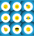 flat icon emoji set of happy sad displeased and vector image vector image