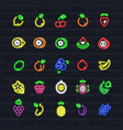 fruits icon set in outline neon style vector image vector image
